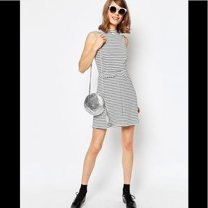 ASOS High Neck A Line Dress with Pockets in Stripe